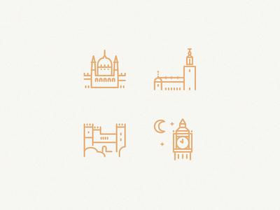 Tourist attractions budapest parliament stockholm london big ben malahide castle dublin icons line icons
