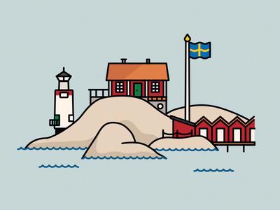 Swedish west coast rocks flag red house lighthouse water göteborg skärgård sweden