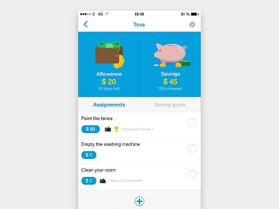 Allowance interface studio jag assignments savings wallet piggy bank children kids money