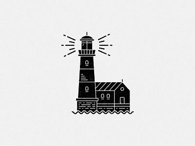 Black lighthouse grunge torn illustration black line art line light house