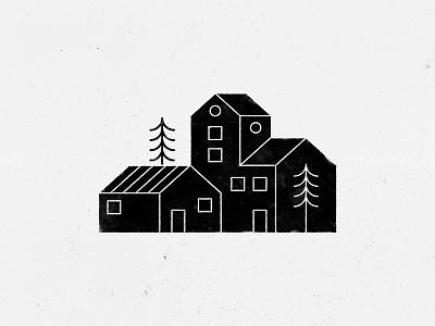 Geometric houses pine tree tree home line style lines black houses house