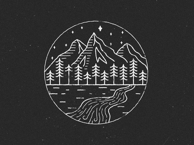 Forest & mountain circle line art line style linestyle mountain river pine tree tree woods forest