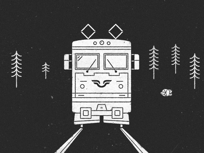 Swedish old ass Train black and white line art line style linestyle trees engine train sj