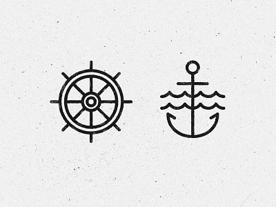 Anchor & Rudder lines line art line style ship tattoo pirate water rudder anchor