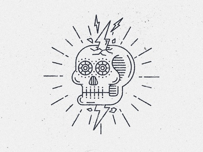 South American skull twitch death bones crack lines line style line art south america lightning skull