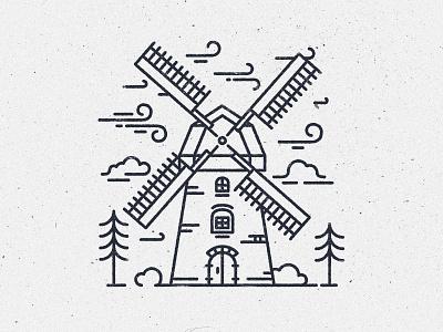Windmill in wind line art lines line style blowing netherlands wind väderkvarn windmill