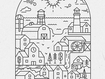 City piece line art barn farm black sun trees lighthouse watermill houses line style city