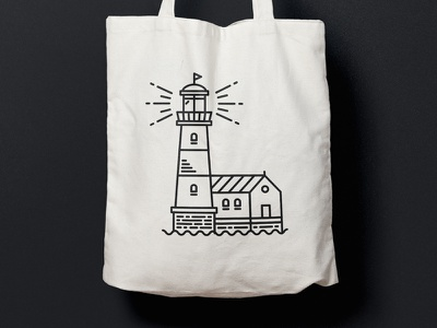 Light house lines fyr tower house light house building light clothbag bag line art line style lighthouse