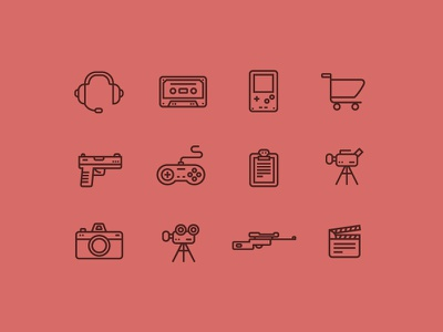 Thin Line Icon icon icons lineart iconset gameboy gun camera cart rifle headset video controller sweden