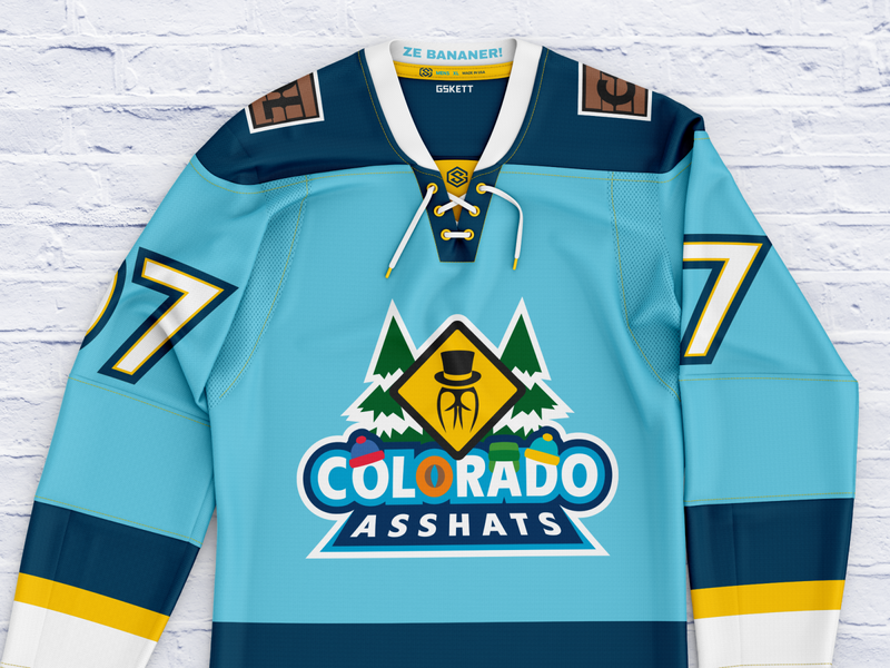 Colorado Asshats - Hockey Sweater uniform jersey colorado south park hockey illustration vector typography logo design gskett branding