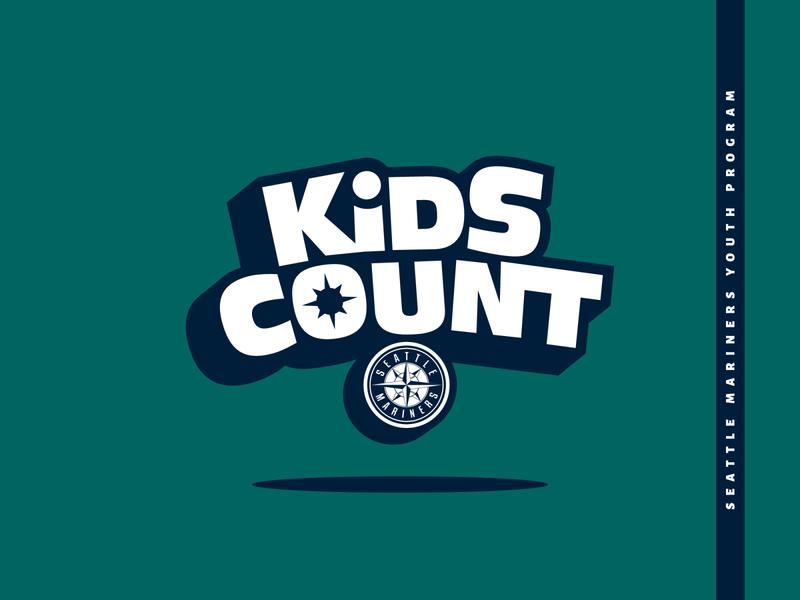 Kids Count - Primary Logo youth kids mlb baseball seattle illustration vector typography logo design gskett branding