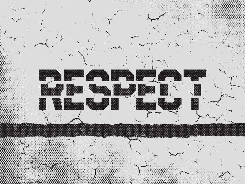 Respect. texture grunge respect halftone wordmark vector typography logo branding design gskett