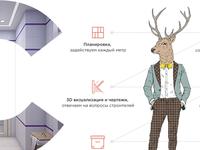 Cervo is Interior design studio typography icon webdesign deer