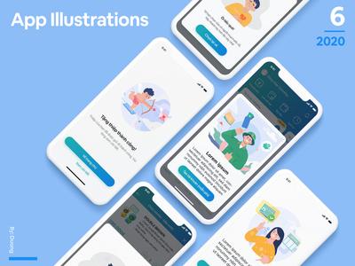 Mobile App Illustrations Set technology financial app money ui vietnam man happy green digital vector app illustration