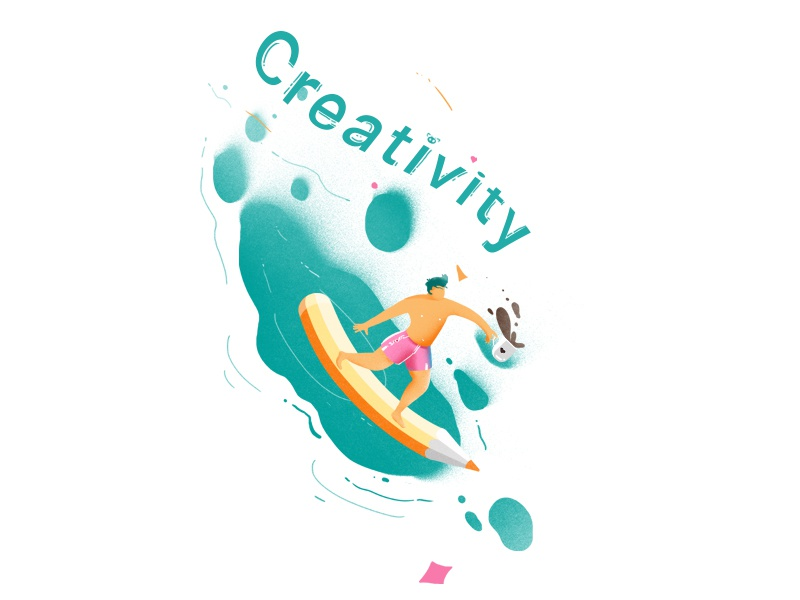 Creativity thinking decorate man surfing fun ideas surfing green creative creativity