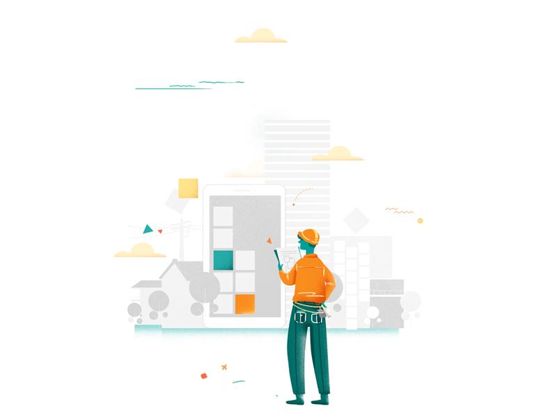 Ux Design construct ideas digital wall paiting green orange build construction ui ux