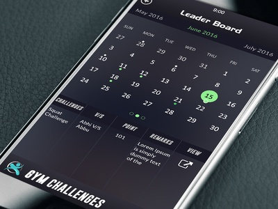 calendar screen of 30 day challenge in Gym Challenge App