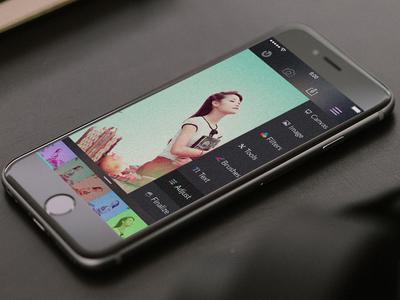 Photo editor screen for Social app for iOS