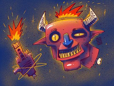 Demon head&hand noise shadow noise character monster illustration digital illustration art digitalart art