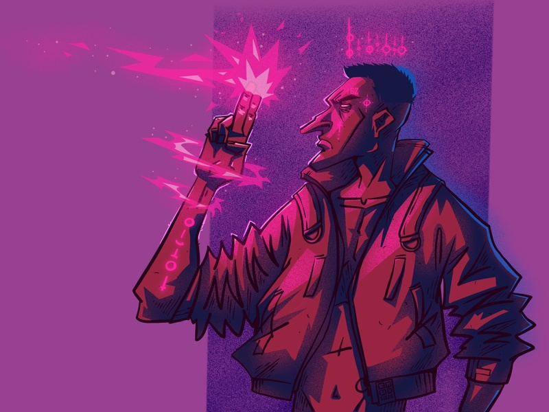 Shot! cyberpunk character illustration digital illustration art digitalart art