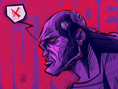 CyberBig pink cyberpunk character illustration digital illustration art digitalart art