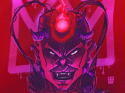 Cyberdemon cyberpunk 2077 cyberpunk character illustration digital illustration art digitalart art