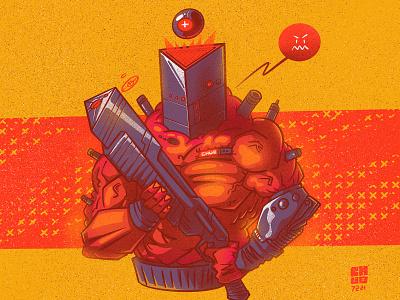 Y-box.shotgun-2221 retrofuturism cyberpunk monster character illustration digital illustration art digitalart art