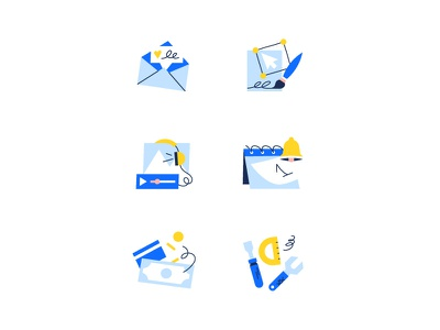 Categories section for Wix App market graphic design doodle uxui tools vector illustration calendar categories application money illustration app marketing tools wix