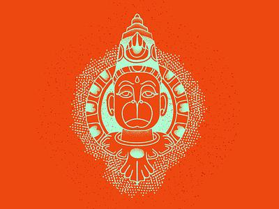 Hanuman retrosupply strokeart deity god hanuman adobe vector india brushes illustrator illustration
