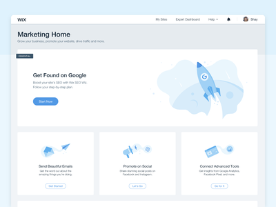 Marketing home uxui marketing illustrator boost promote web wix seo ux ui vector illustration
