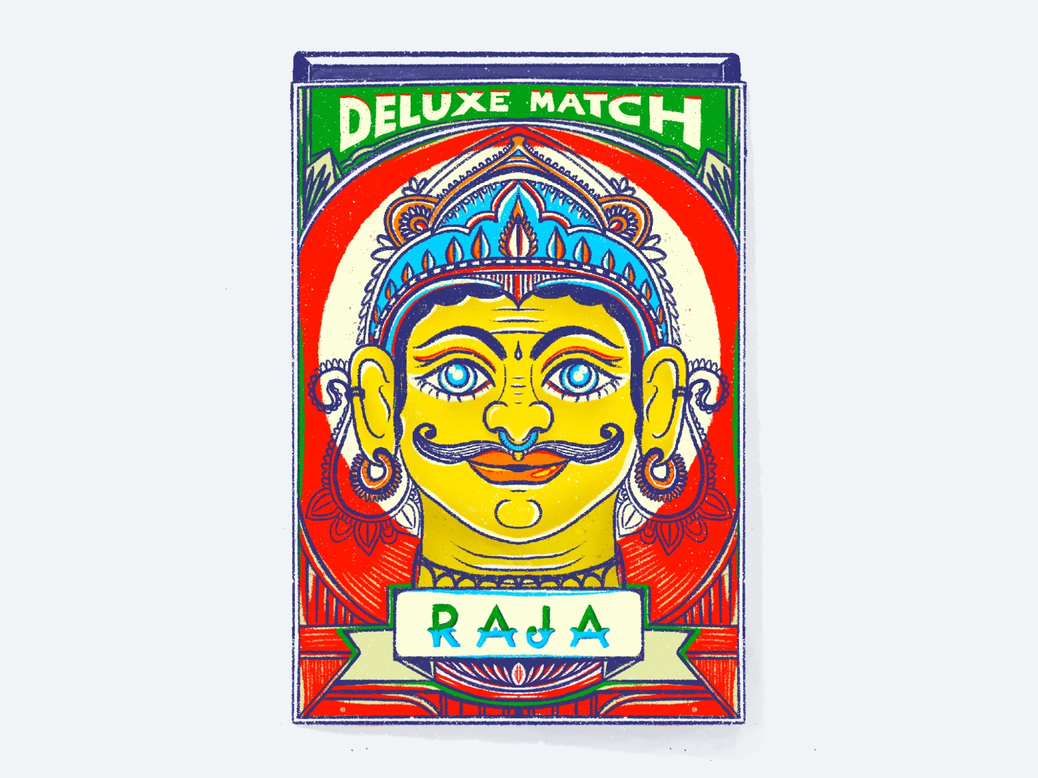 Raja A Deluxe Match raja band bold color symetry procreate match box india retro illustration