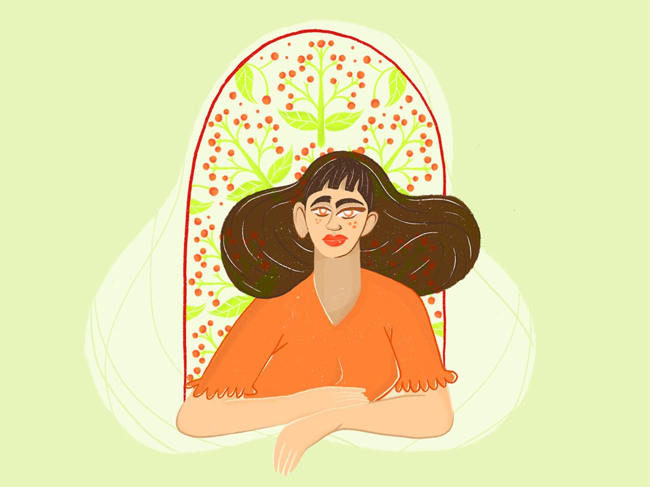 Hey Grrl floral character design illustration woman illustration girl flowers character procreate