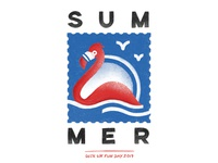 SUM/MER wix waves tote totebag summertime summer stamps procreate illustration graphic design giveaway flamingo design birds
