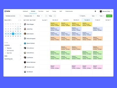 03/  Schedule webapp design navigation filters calendar webapp design minimal user interface list employees planning schedule app schedule
