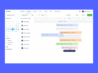 06/ Schedule - Day View hover tooltip drag and drop shifts scheduler manager schedule app scheduling user interface minimal ux interfacedesign productdesign product webapp day view day date schedule