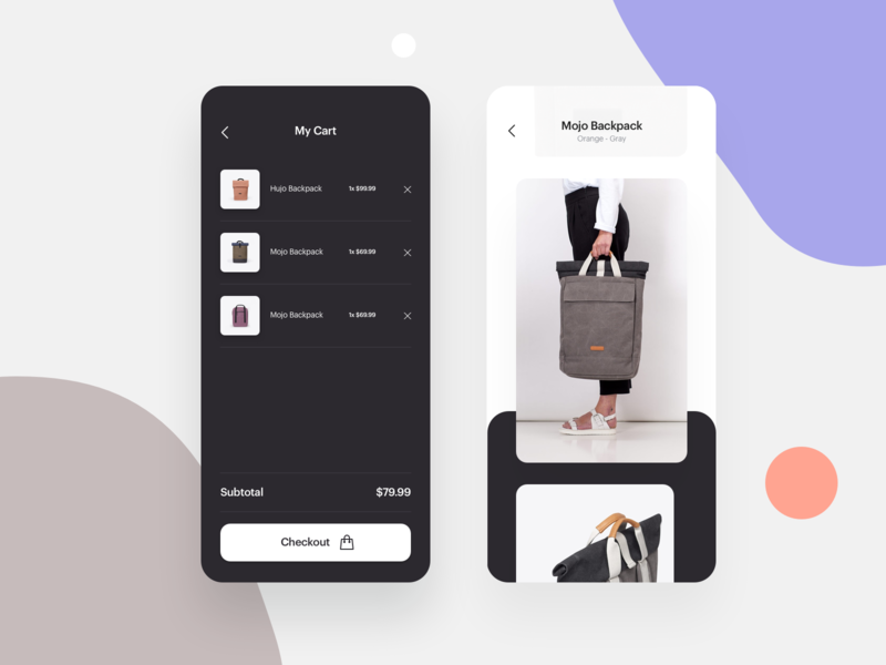 Ucon - MyCart and Overview ecommerce app shop backpack bags clean uiux fresh flat modern iphone design ux interface user interface app ui
