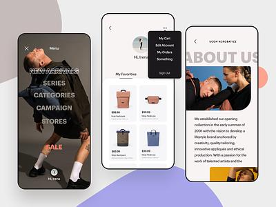 Ucon Acrobatics hamburger menu about profile ux user inteface uiux ui shop modern iphone interface fresh flat ecommerce clean app design clean bags backpack app