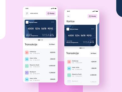 Intesa - My Cards and Transactions finance app manage card overview transaction interface app design cards ui bank app bank credit card cards balance app