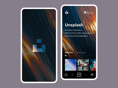 Unsplash Home app user inteface clean ios minimal ui design cards homepage darkui photography unsplash