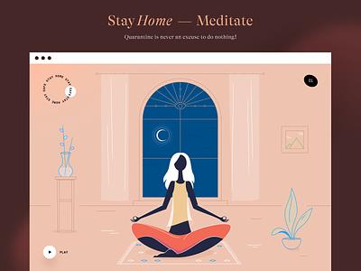 Stay Home — Meditate meditation quarantine characters girl 2d people flat coronavirus stayhome isolation drawing vector ui illustration