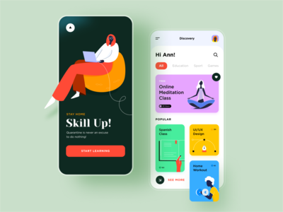 Learning App Concept ux ui quarantine isolation mobile illustration education courses online app learning