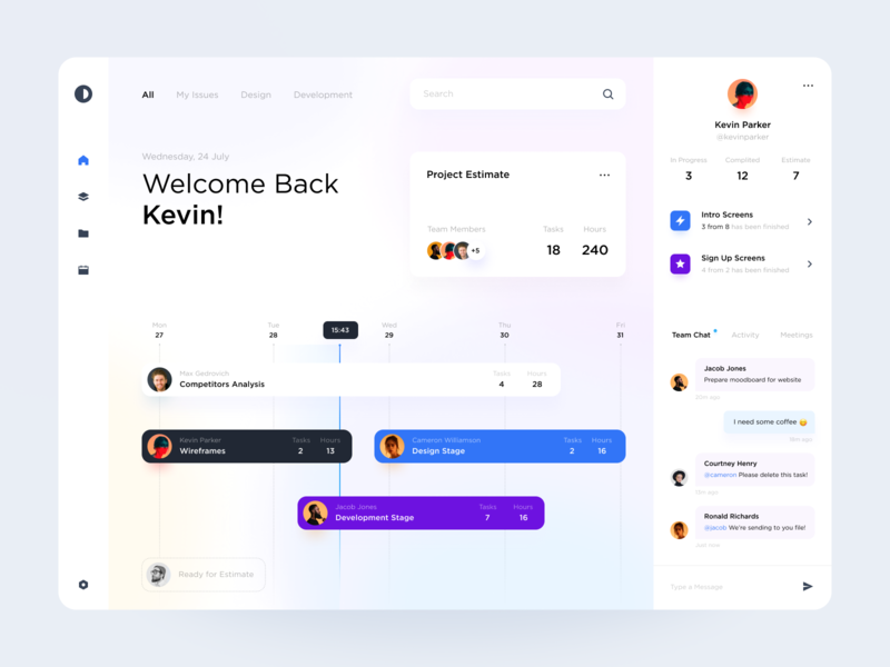 Task Management Dashboard 🤓 message ui ux clean chat web design trello tool to do app task manager schedule product design interface design web application dashboard