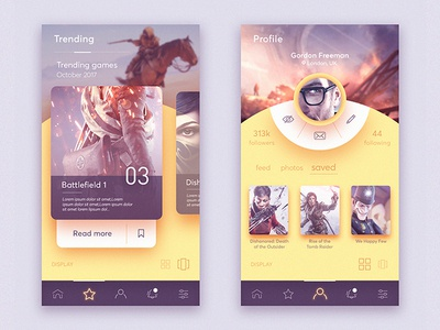 Gamer network UI icon interaction website gamer web page profile ios android mobile ux ui