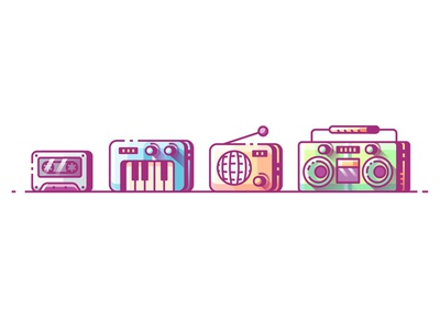 Music icons line color flat outline radio boombox piano music illustration icon