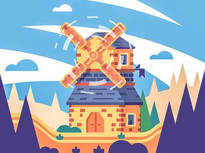 Windmill bird medieval tree color building flat windmill