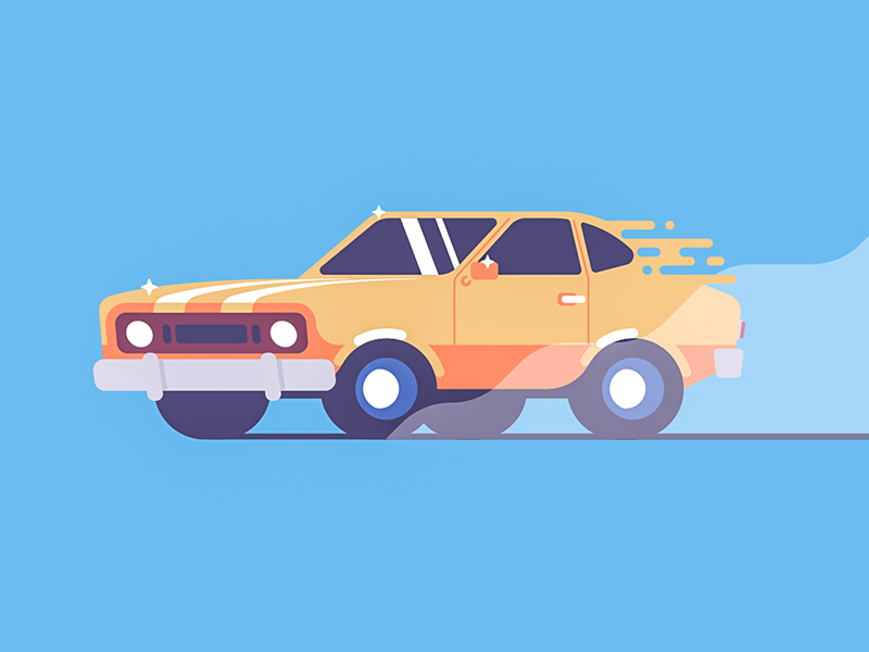Muscle car orange simple illustration color flat muscle mustang fast car