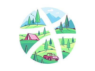Explore and Inspire mountain tree wild outdoor camping adventure explore travel nature dribbble sticker