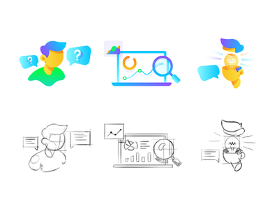 Landing page illustrations magnifier infographic chart idea thinking gradient icon website onboarding illustration