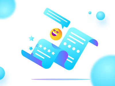 Feedback illustration ui paper rating happy emoji feedback illustration gradient