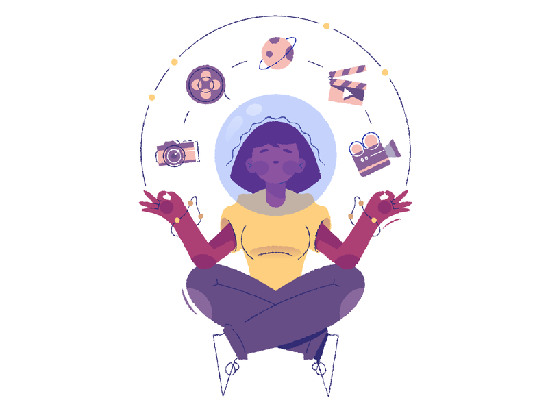 Multimedia icon character camera yoga girl floating illustration